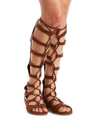 8c5adca6272af Lace-Up Knee-High Gladiator Sandals: Charlotte Russe | I just got these  today. :)
