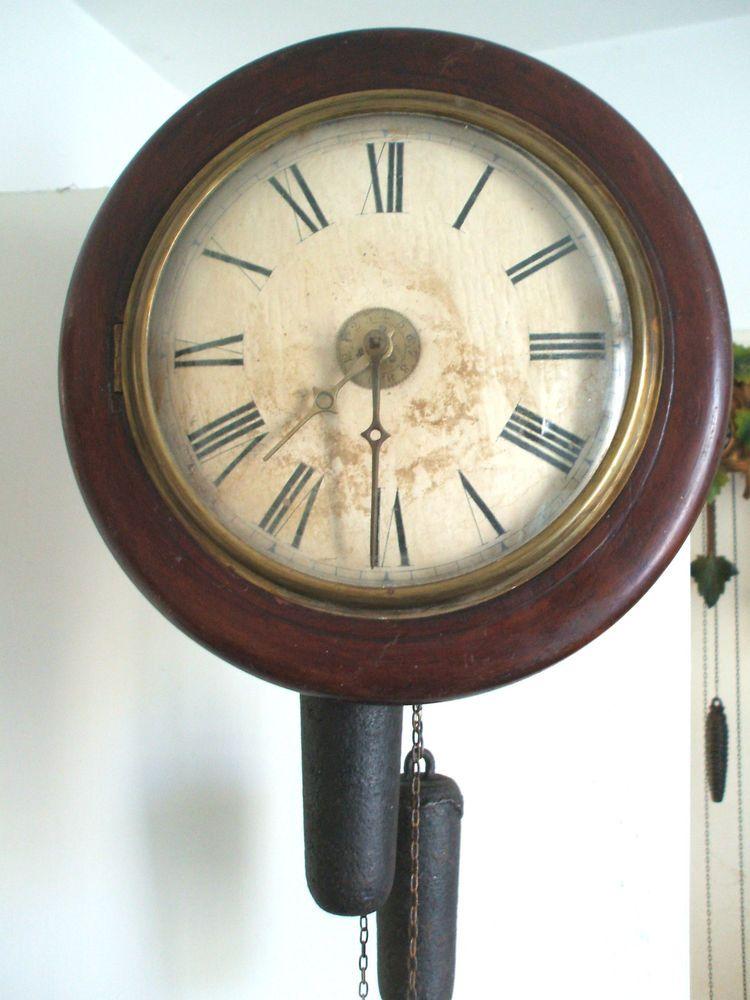 Postman Alarm Striking Wall Clock 2 Weights Driven Gwo 12 Diameter 9 Deep Clock Wall Clock Antique Clocks