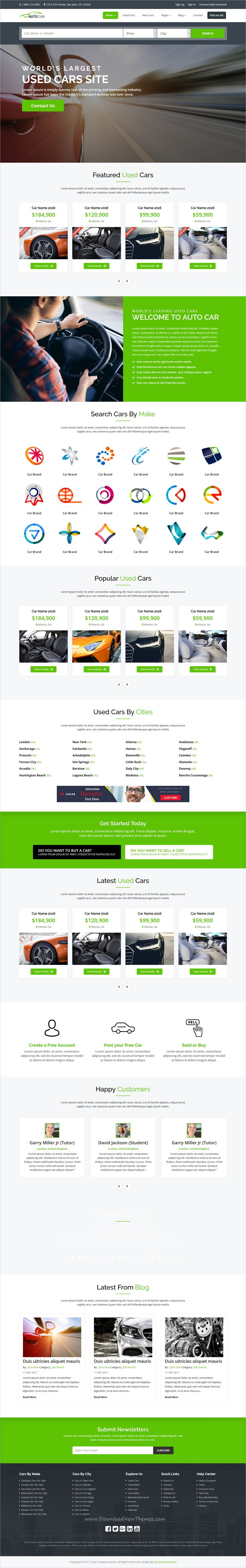AutoCar - Online Used Cars Template | Template, Ads and Graphic ...