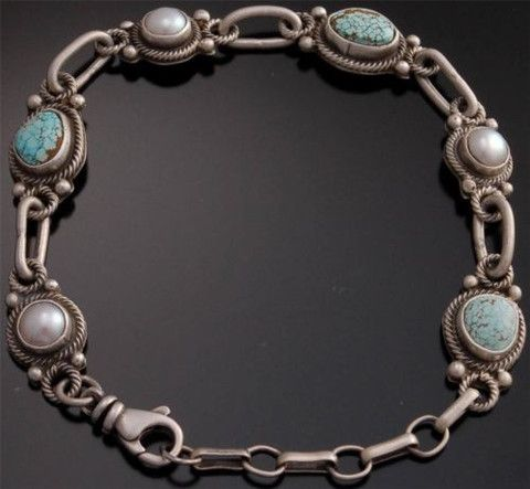 # 8 Spiderweb Turquoise Pearl Silver Link Bracelet by Erick Begay - YJ92O
