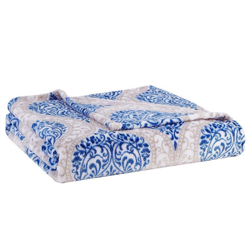Madison Park Senna Oversized Plush Throw, Blue
