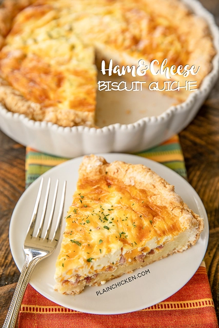 Ham Cheese Biscuit Quiche In 2020 Ham And Cheese Quiche Recipes Cheese Biscuits