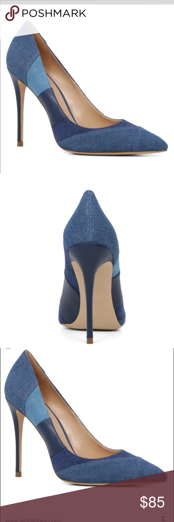 39af19f71f74 Shoes Aldo Denim Pumps Kessi Brand new - great transition shoe brand new  with box patchwork shades of denim and blue ALDO Shoes Heels