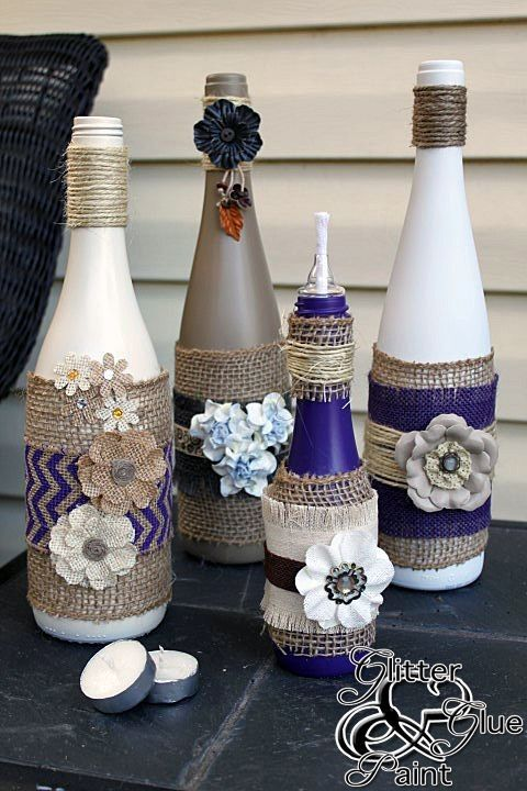 Diy glitter crochet tiki lamps wine bottle crafts for How to decorate a bottle with glitter