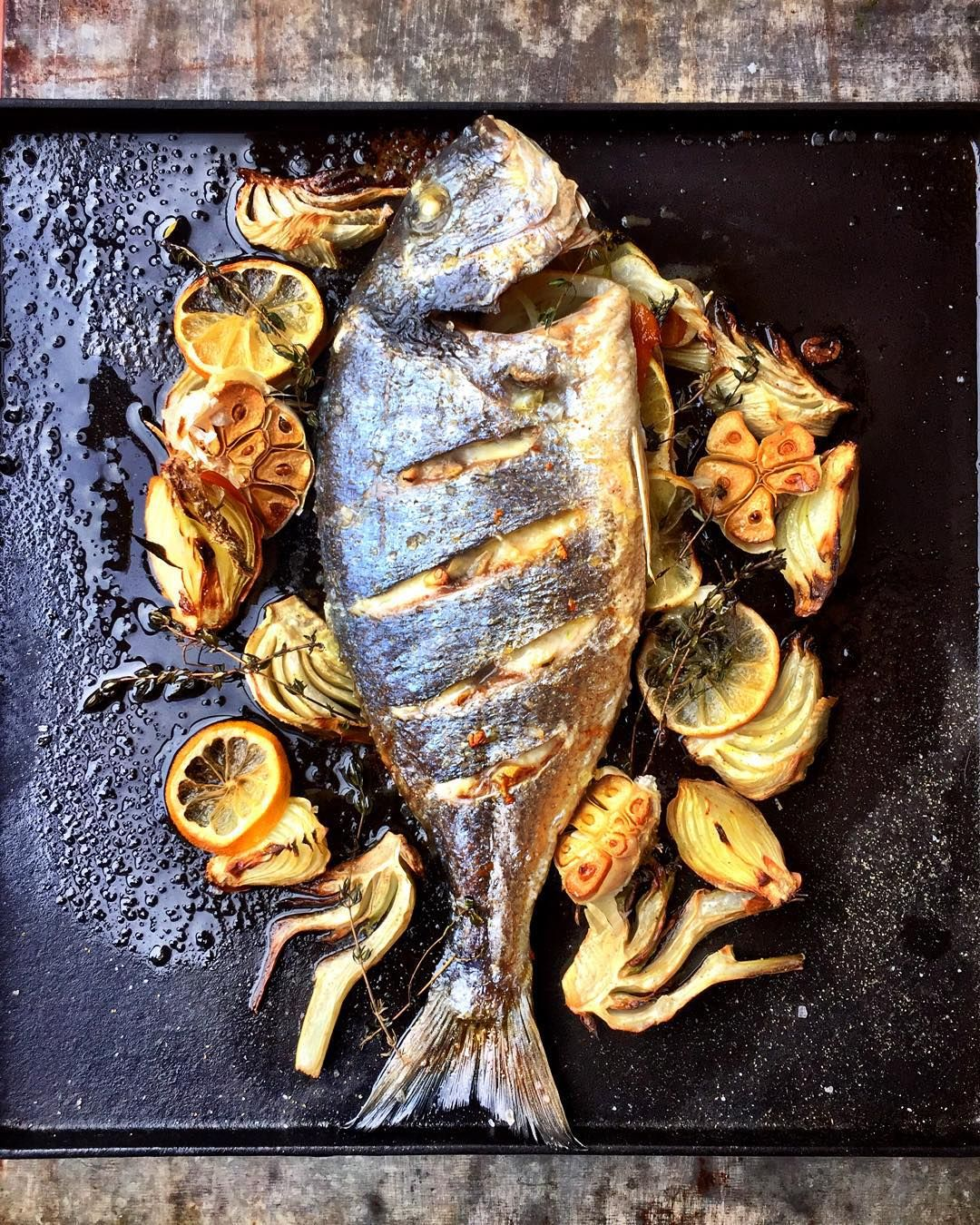 """""""Sea Bream with fennel & orange as part of my #jamiemagtakeover @jamiemagazine today. Shooting @bartsfishtales in Amsterdam"""""""