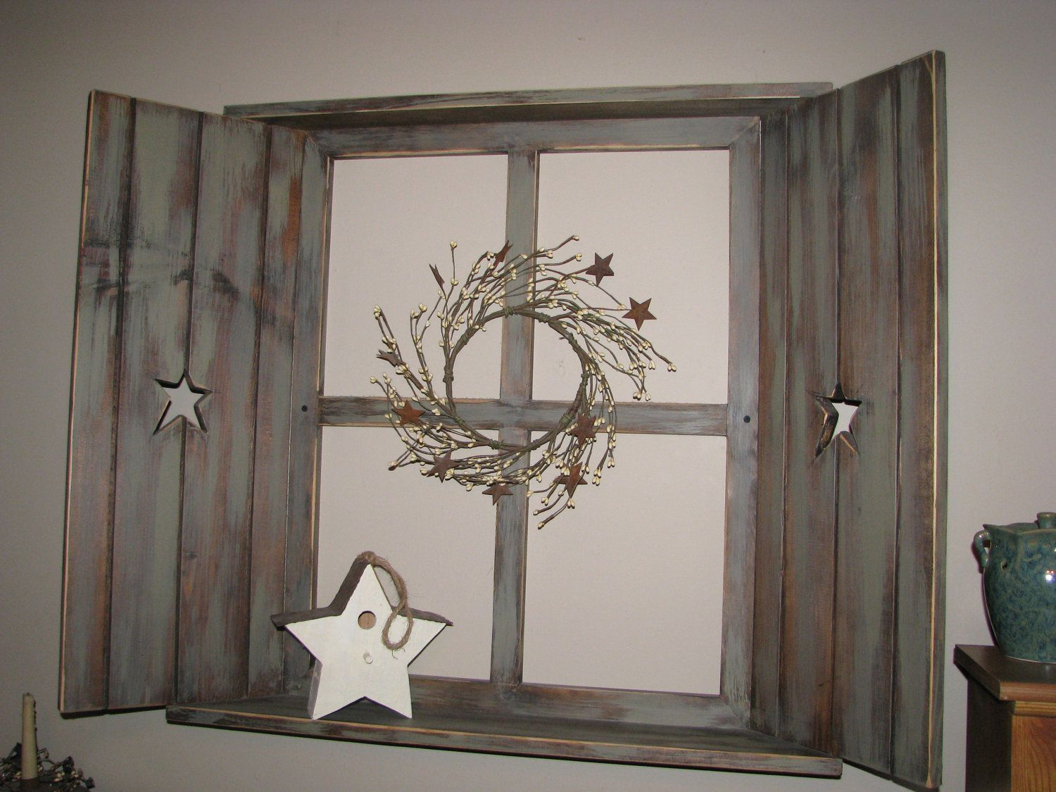 Window frame rustic pane with ledge on top and bottom and