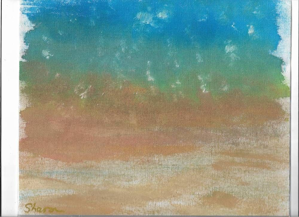 Splish, Splash, Splosh Snowy Sea on Canvas27cm x 22cm by Artist Sharon L Brooks