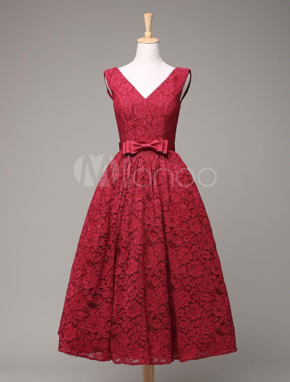 Spitzen Prom Kleid mit V-Ausschnitt a-Linie Taille Bow Tee-Länge ...