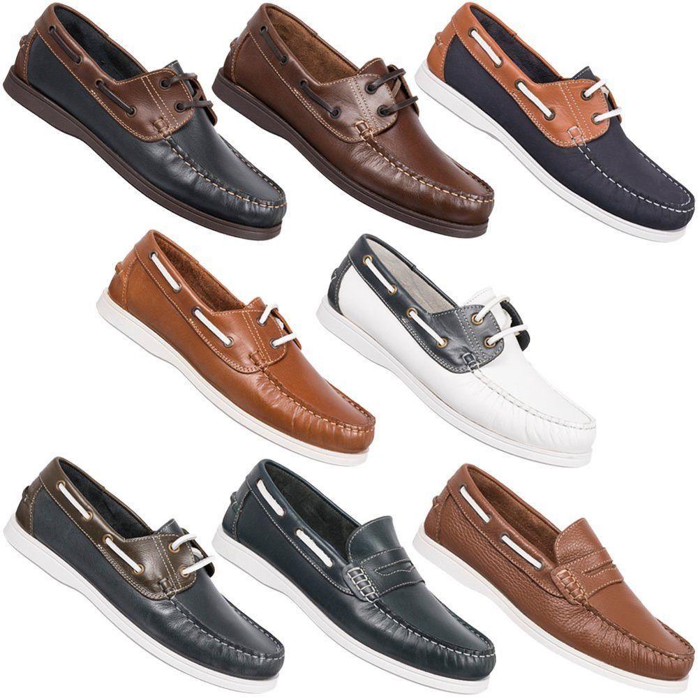 L. LAMBERTAZZI Herren Leder Bootsschuhe Freizeit Schuhe Segel Boots 40-45  Shoes