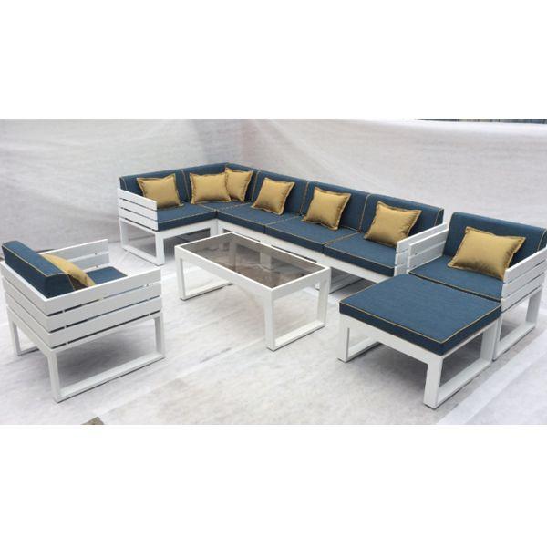 Latest Design Outdoor Garden Python Corner Sofa Set Waterproof Sunproof Aluminum Lounge Furniture With Tempered Glas Corner Sofa Set Lounge Furniture Furniture