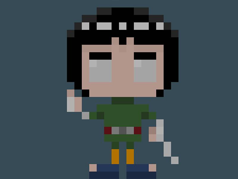 Famous Characters In Pixel Art Rock Lee ロックリ Rokku