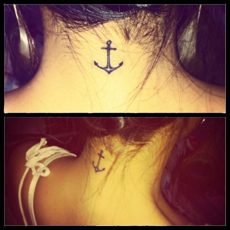 Small Anchor Tattoo On Nape