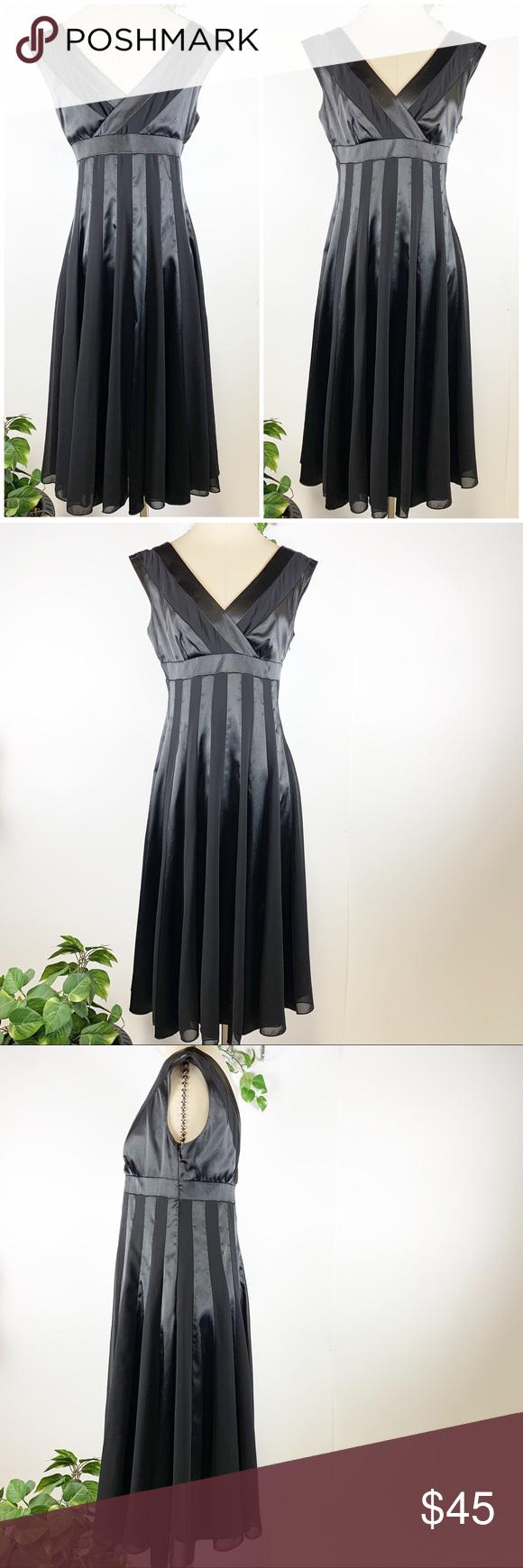 ADRIANNA PAPELL - Black Satin Stripe Dress -size 8 ...
