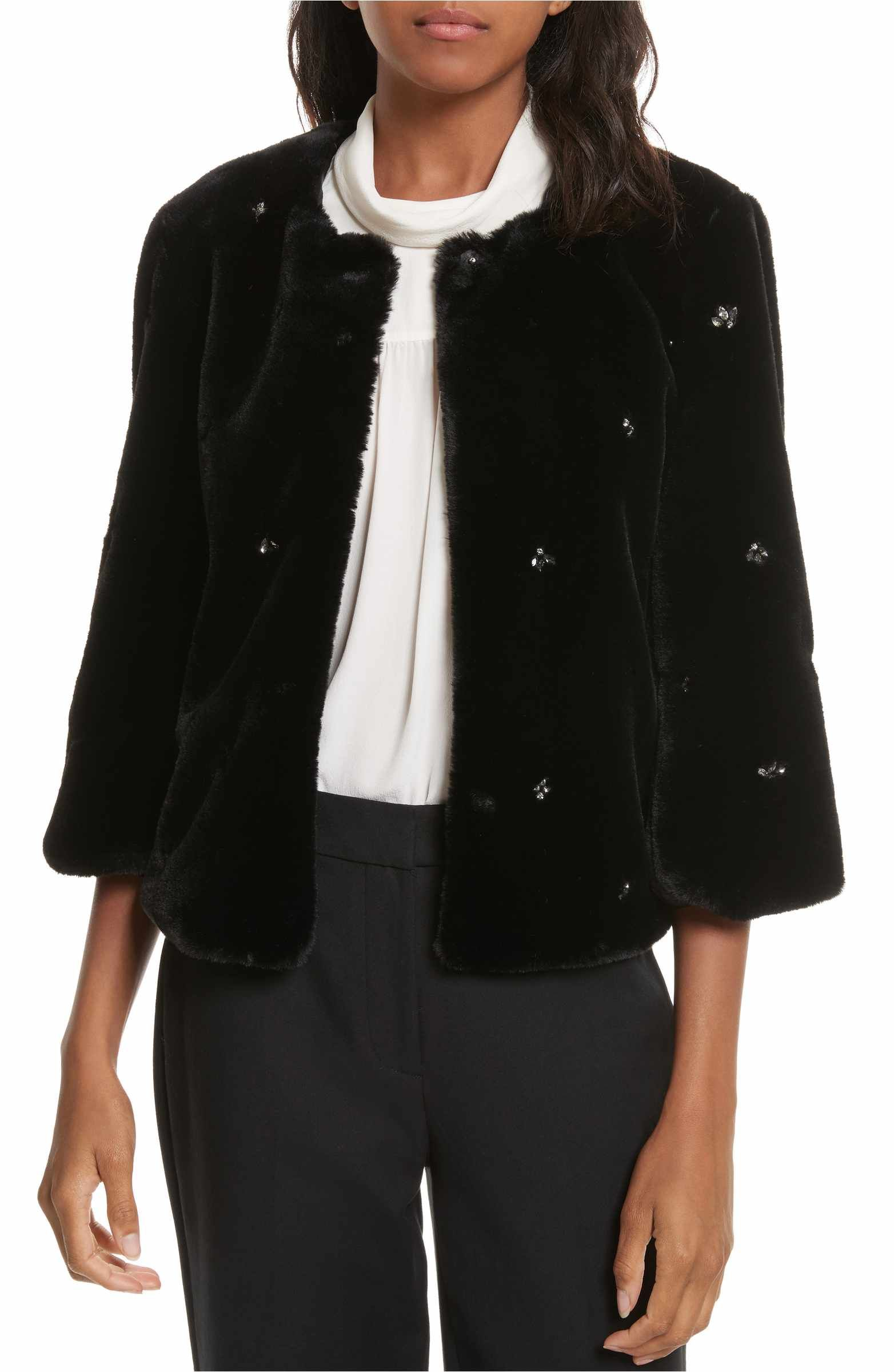 Joie Nayland Embellished Faux Fur Jacket Faux fur jacket