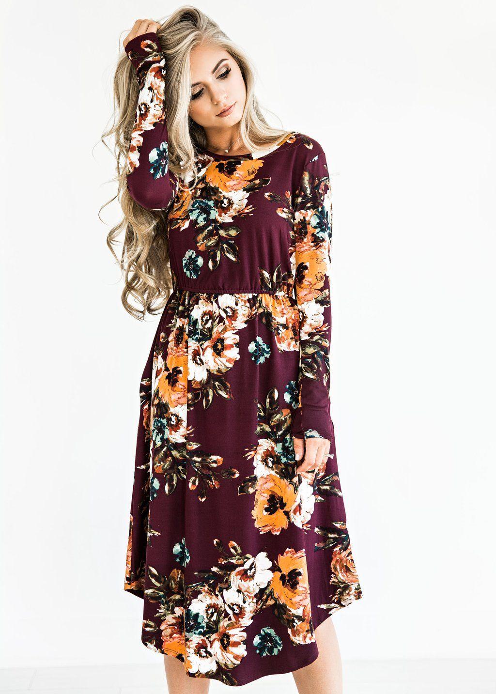 e1457541964 Burgundy Classic Rose Midi Dress