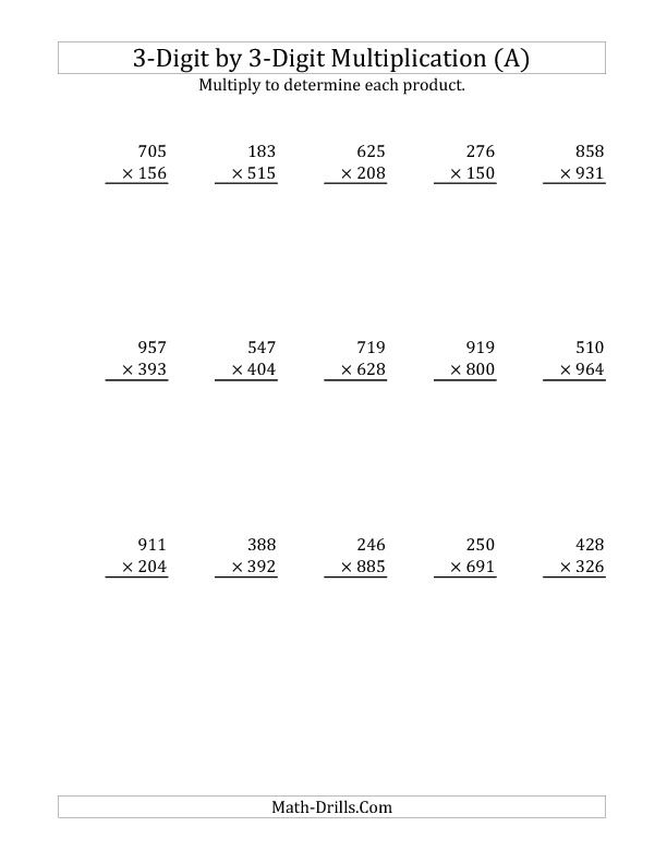 3 Digit By 3 Digit Multiplication A Multiplication Multiplication Worksheets Math Worksheets