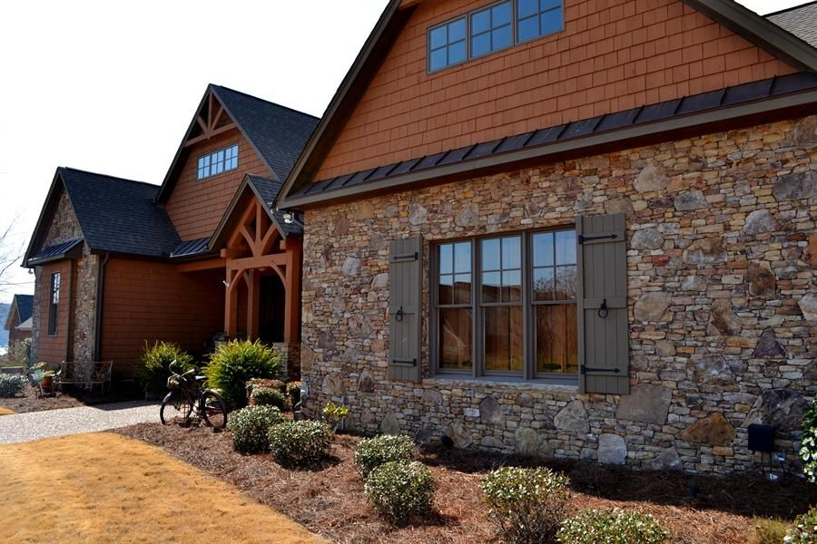 Stone house with wood siding google search all about for Stone and cedar homes