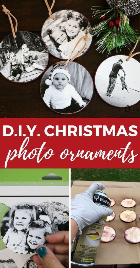DIY Photo Christmas Ornaments Tutorial #diyornaments