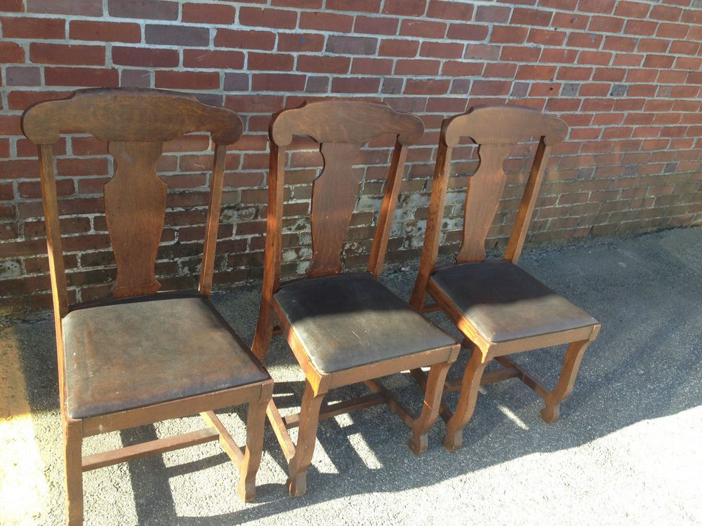 Antique Oak Dining Chairs X Rocker Chair Review Quarter Sawn T Back Tiger Set Original Finish Leather
