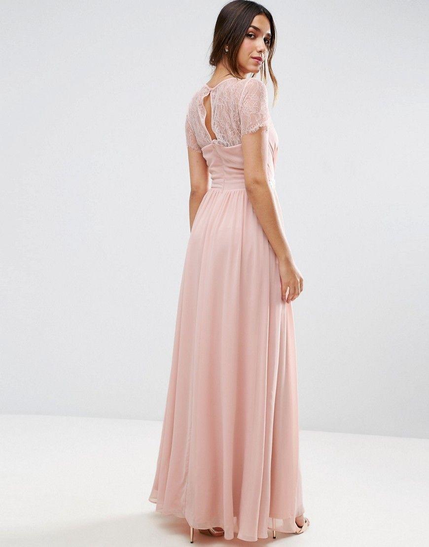 ASOS Kate Lace Embellished Trim Maxi Dress - Pink