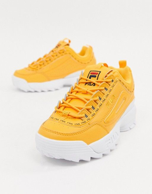 9077e3ee Fila Yellow Taped Logo Disruptor 2 Premium Trainers in 2019 ...