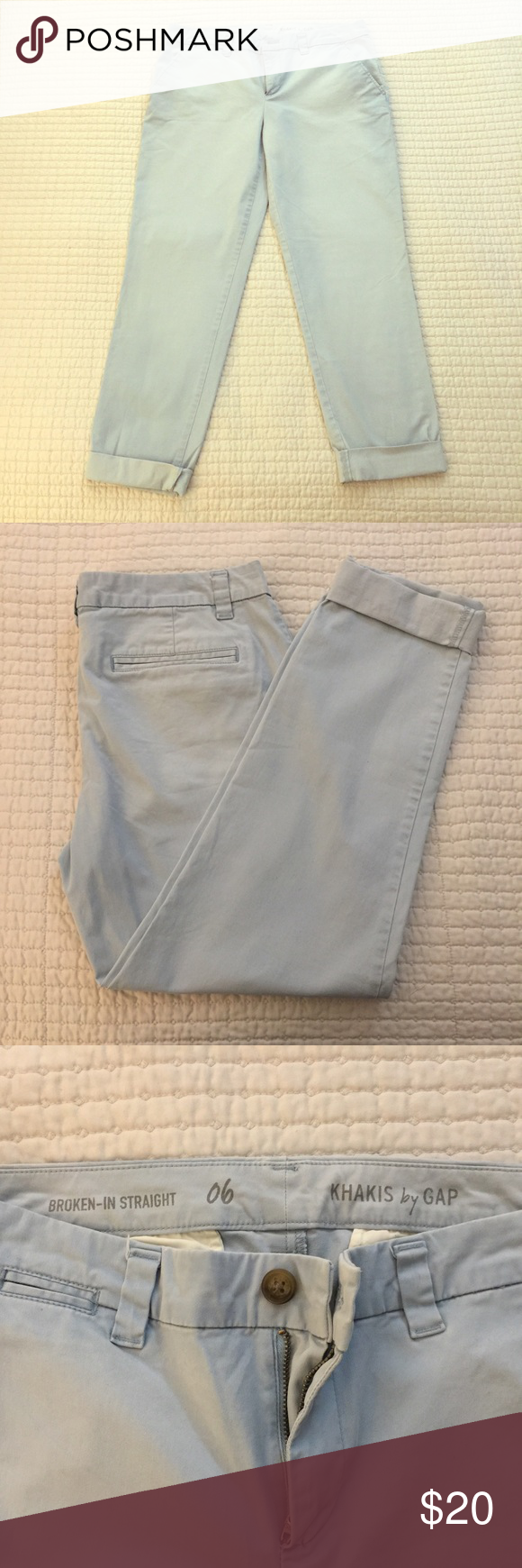 Gap Powder Blue Khakis NWOT. Bought new and never worn. No flaws and from a smoke-free home. I'd be happy to answer any questions, and feel free to make an offer. Thanks! GAP Pants Ankle & Cropped