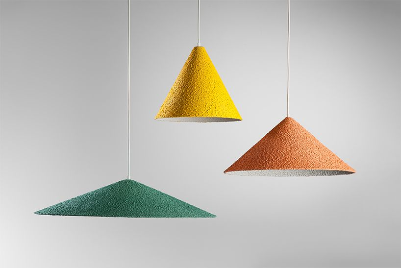 one of the most maligned materials in home design makes a comeback in the form of textured pastel lamps.