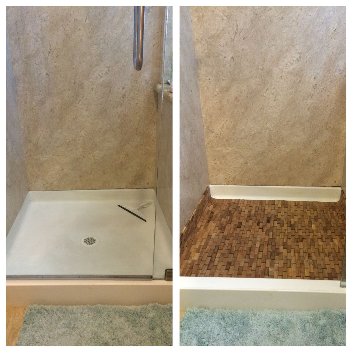 How to turn an ugly shower base into a spa retreat. I bought two ...