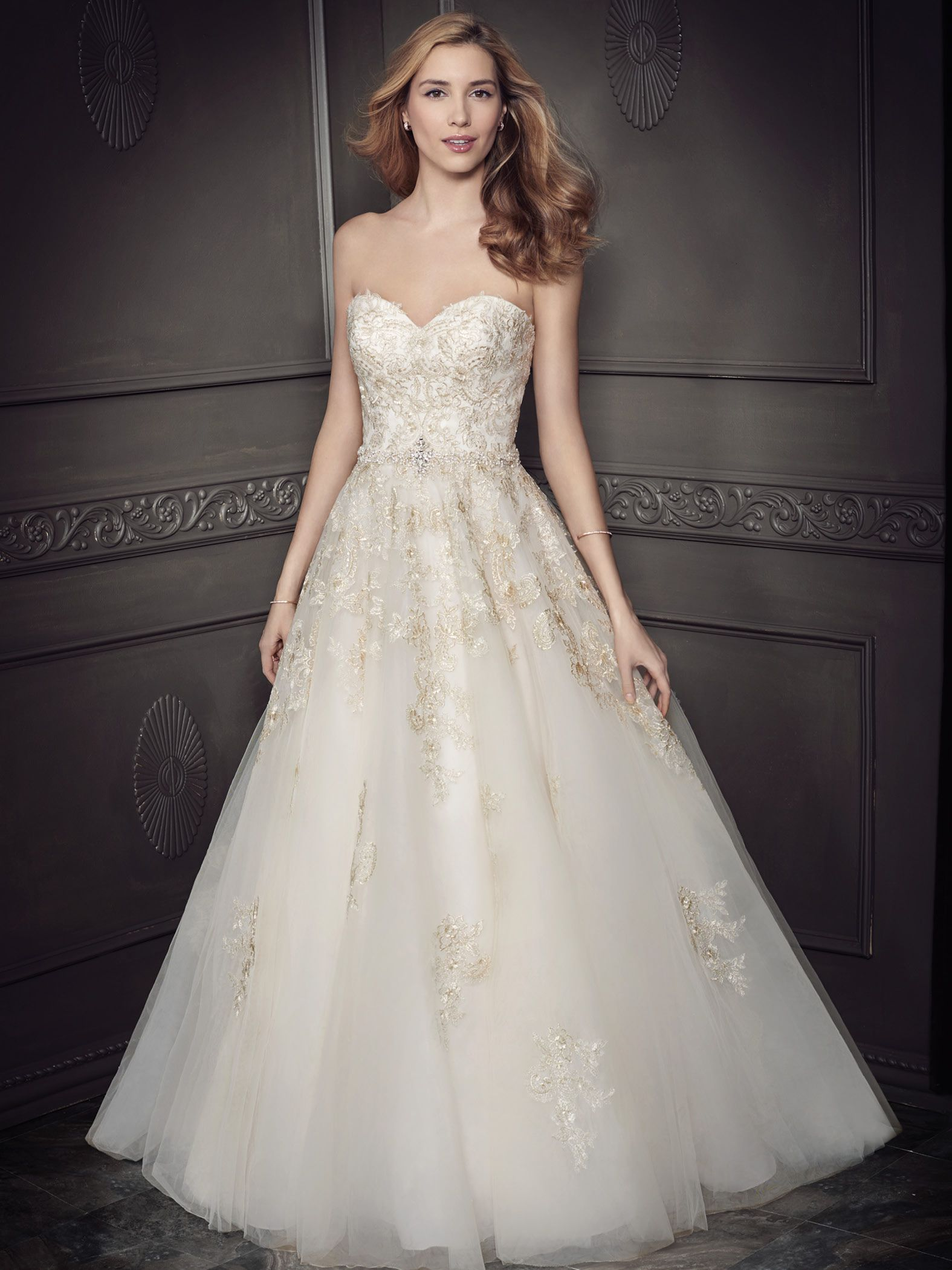Ella Rosa Style BE335 gold wedding dress, perfect for a