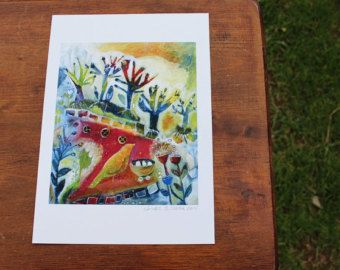 Bird in the woods  Archival Art Print on 330 gsm paper size A4 -  by Linda E Clarke