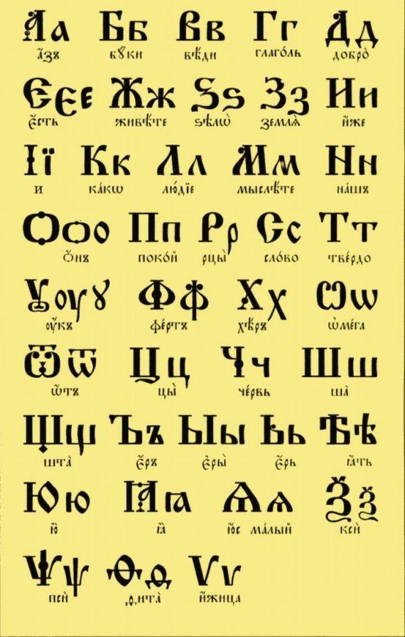 Славянский алфавит фото