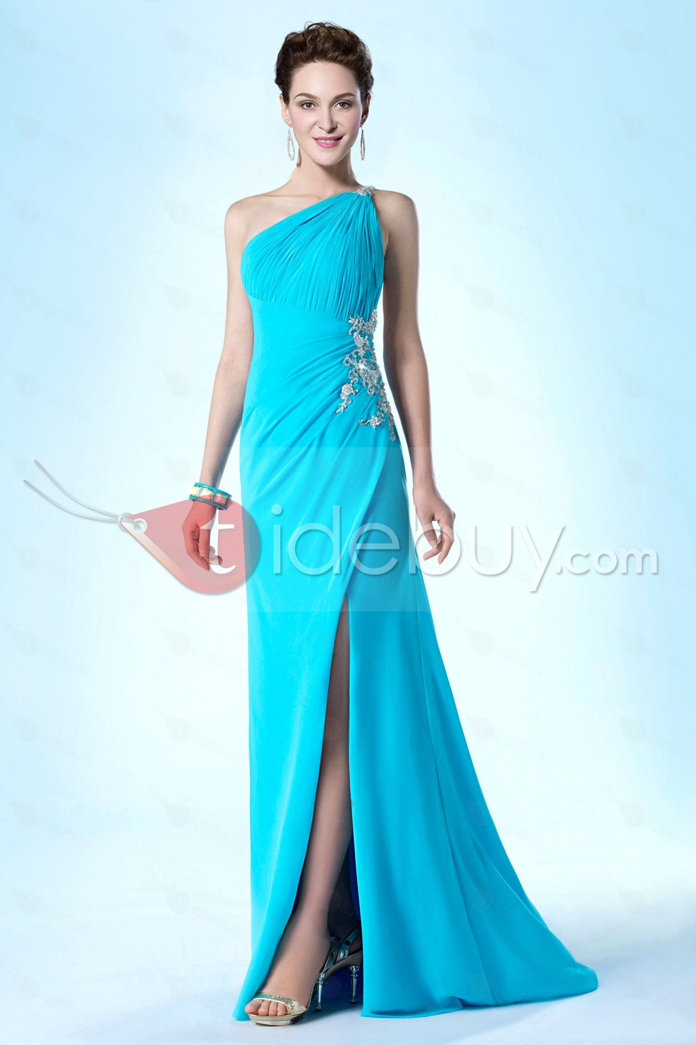 New Fashionable One-Shoulder A-Line Appliques Sweep Train Evening ...