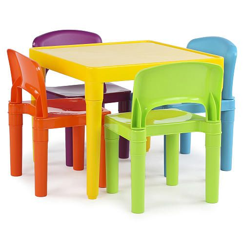 Tot Tutors Plastic Table And 4 Chairs Set Toddler Table Kids Table And Chairs Table And Chair Sets