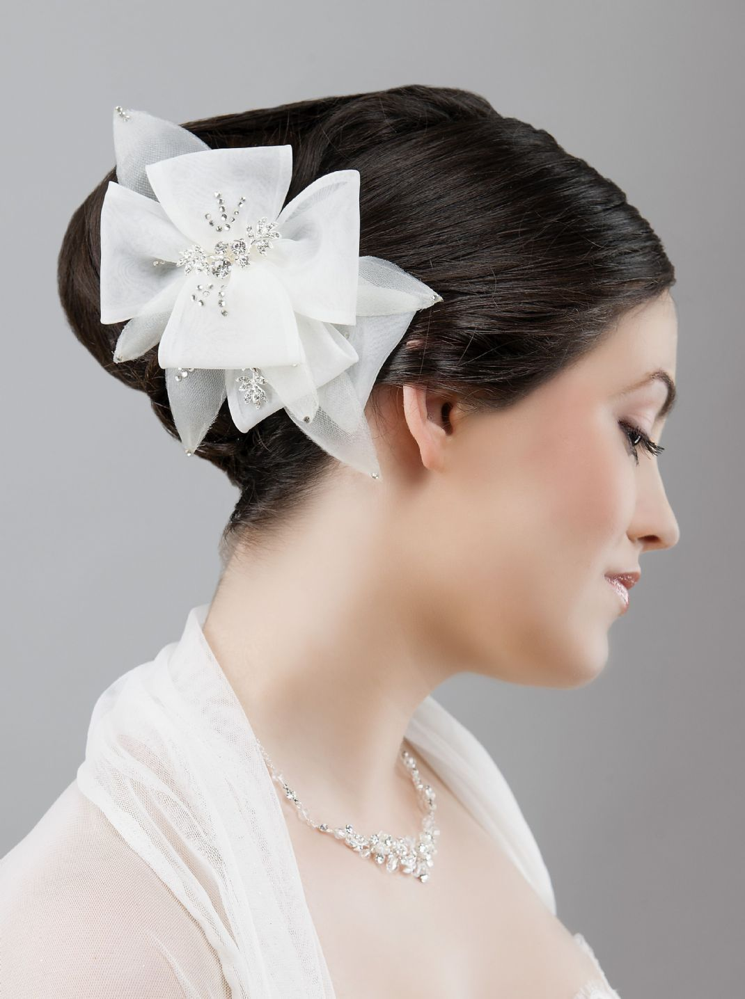 wedding hair accessories | and tulle flower hair clip