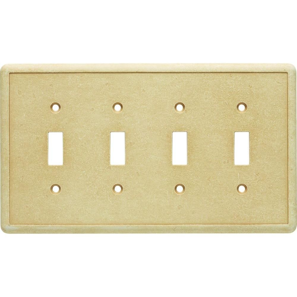 4-Gang 4 Toggle Cast Stone Wall Plate, Gold | Cast stone and Products