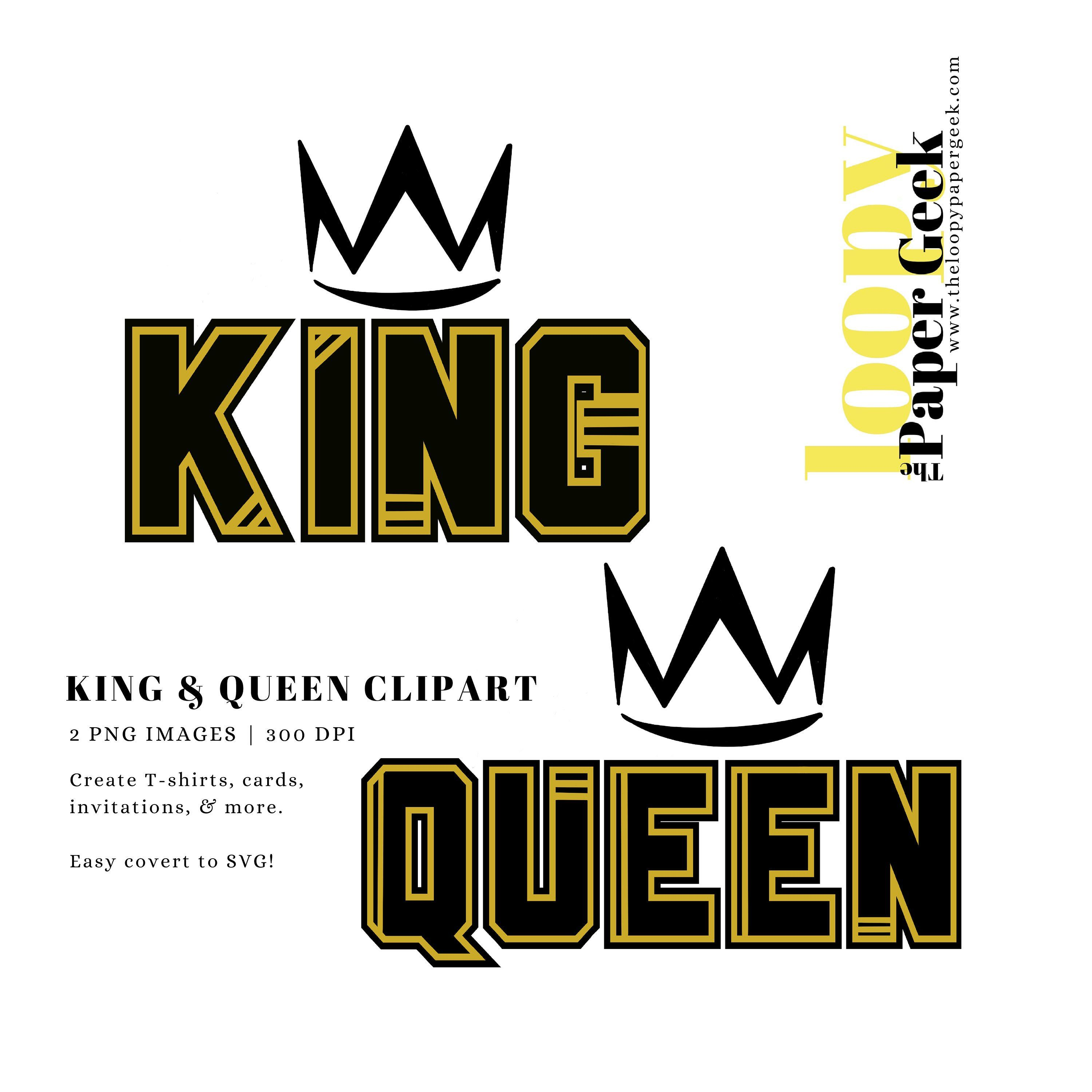 King and Queen Royalty Clipart Set Tshirt Design