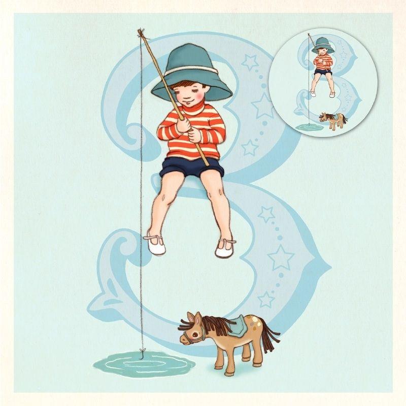 Wenskaart met button Belle & Boo 3 jaar Ellis