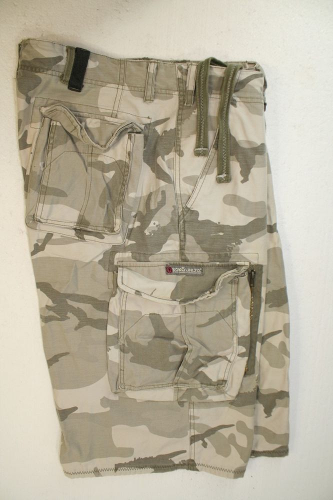SOLD! Ecko Unltd Gray Ghost Camo Cargo Shorts Drawstring Waist ...