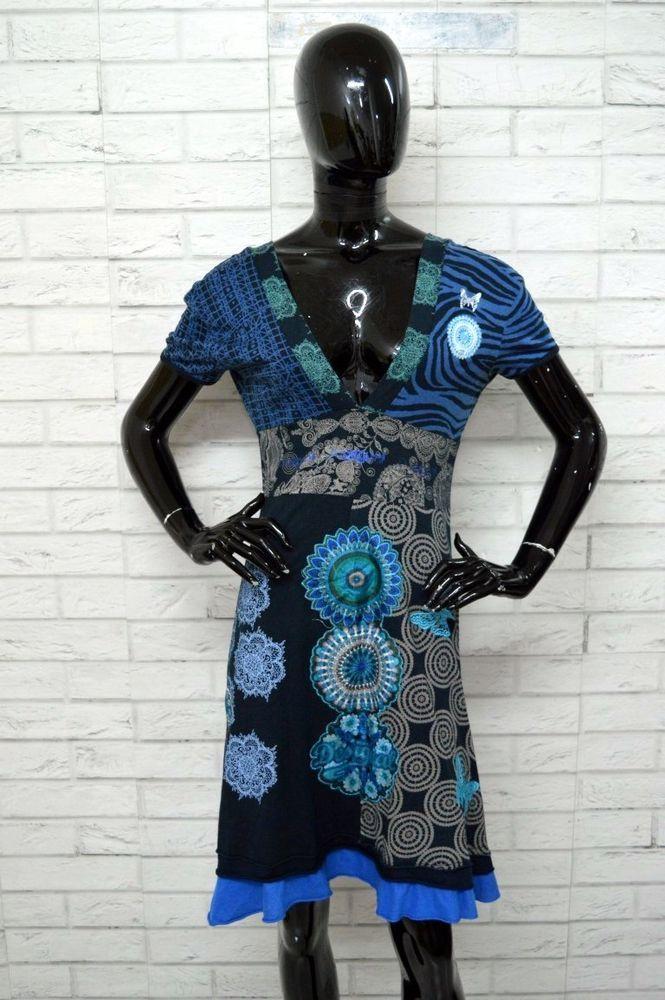 a2cfc69545bf Vestito Donna DESIGUAL Taglia XL Abito Dress Jeans Cotone Woman PARI AL  NUOVO