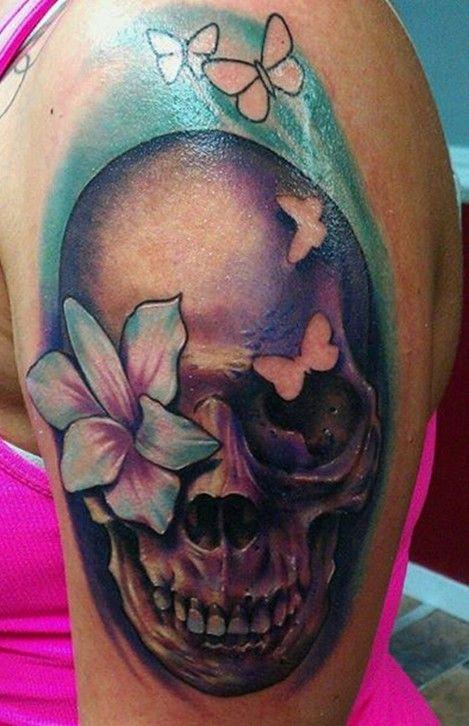 8af1e88b4 50 Cool Skull Tattoos Designs | Ink. | Girly skull tattoos, Skull ...