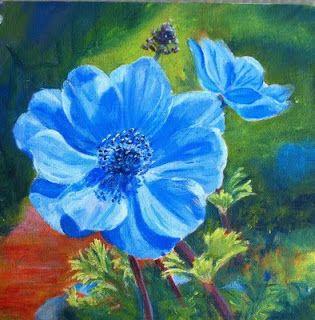 Marion S Floral Art Blog Blue Anemone Acrylic Painting Blue Art Prints Oil Pastel Paintings Oil Pastel Art