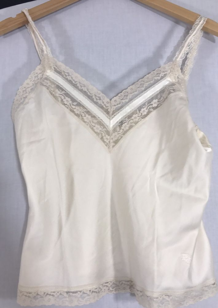 aa3c9f701 Vintage Christian Dior Satin Lace Cream Camisole Cami Top Embroidered Logo  S  ChristianDior  SexyEveryday  Everyday