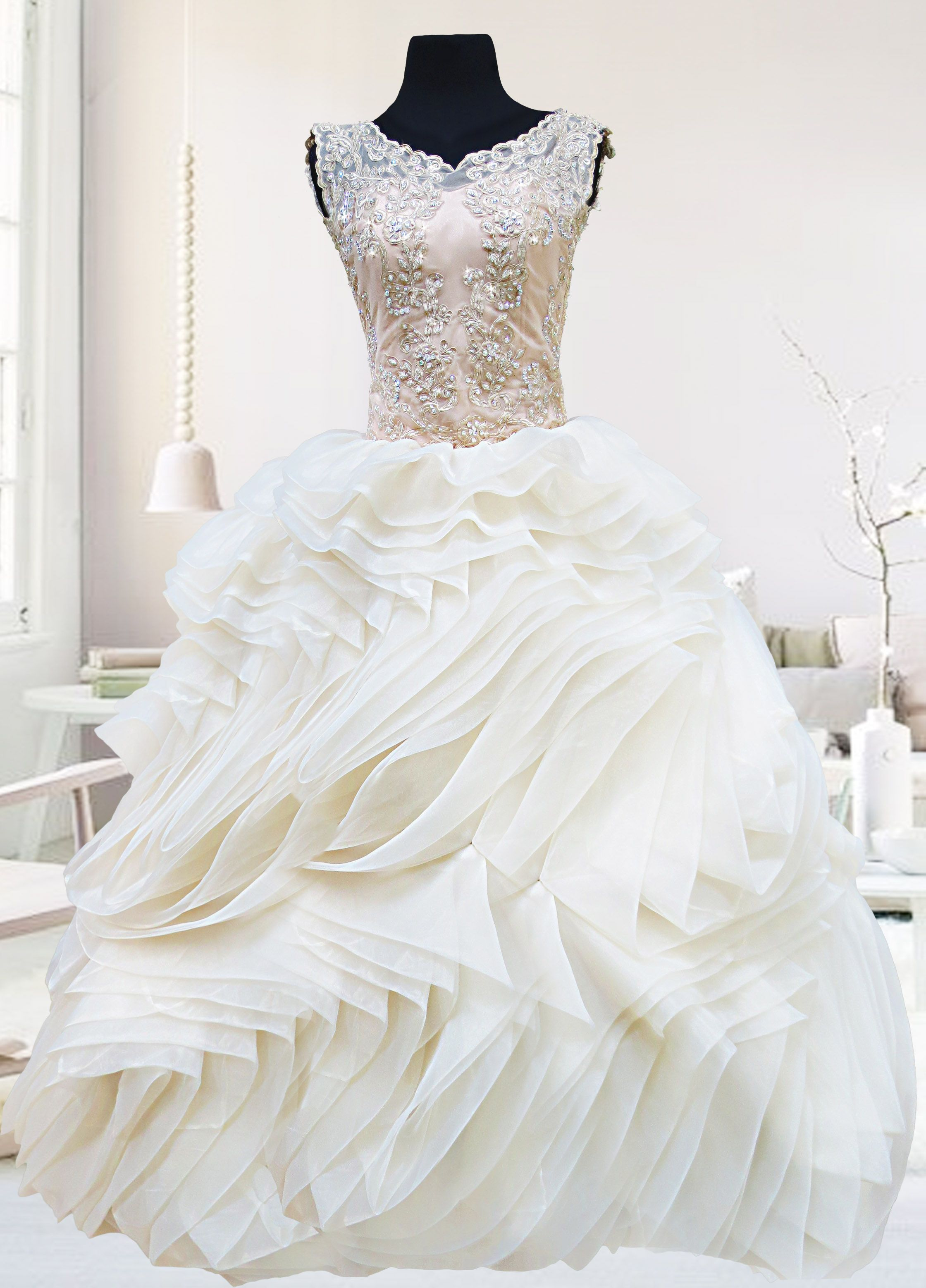The Angelina Gown is a champagne vintage-inspired ball gown ...