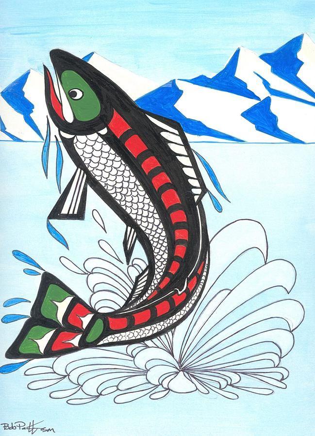 Salmon Jumping Drawing