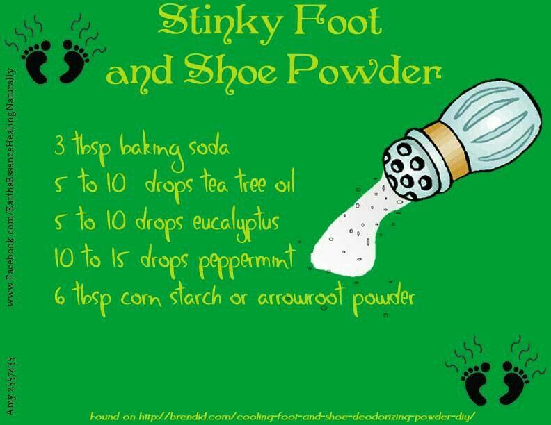 Stinky feet shoes baking soda tea tree eucalyptus