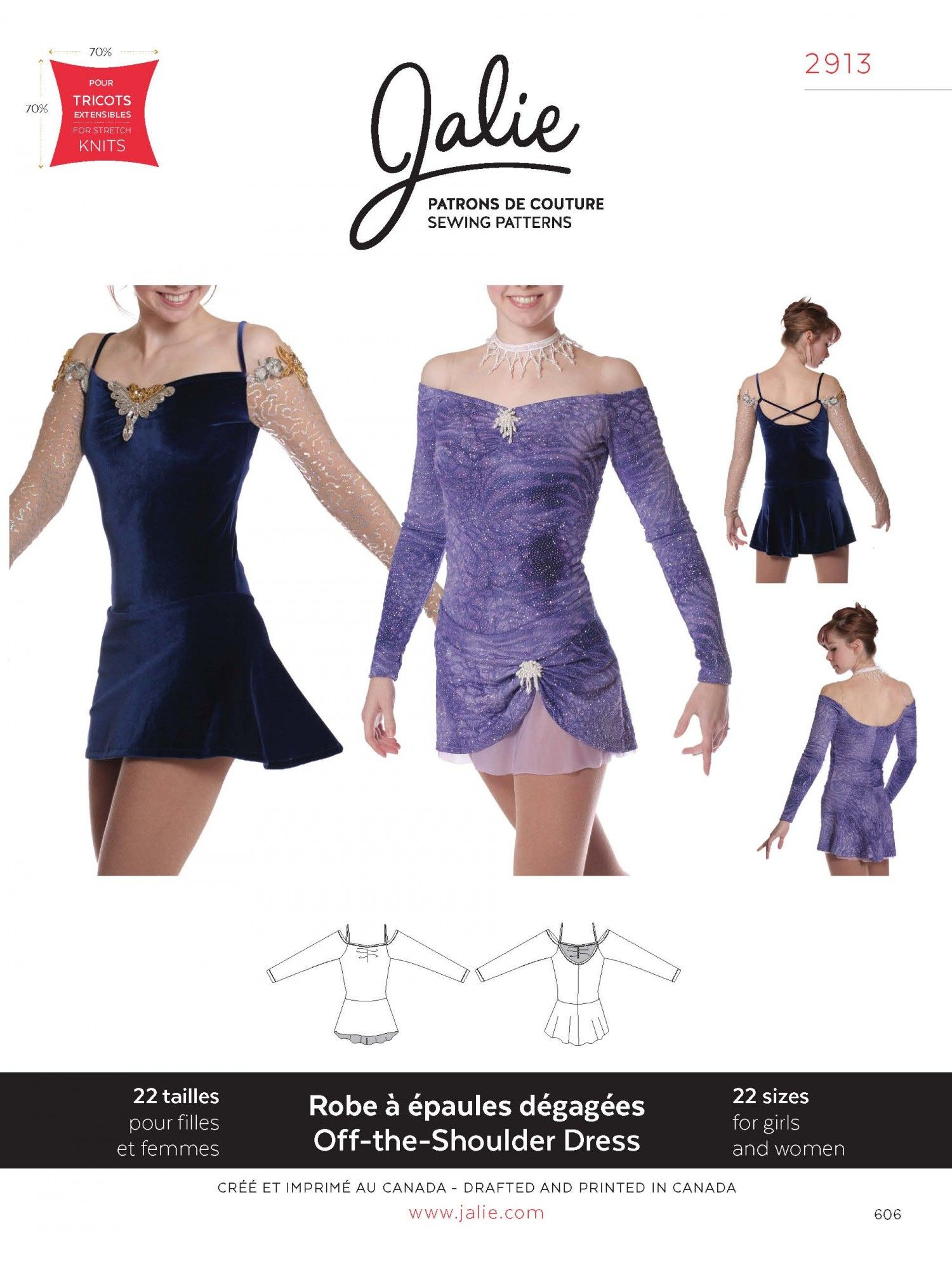Jalie 2913 - Off-the-Shoulder Skating Dress e91d4a175