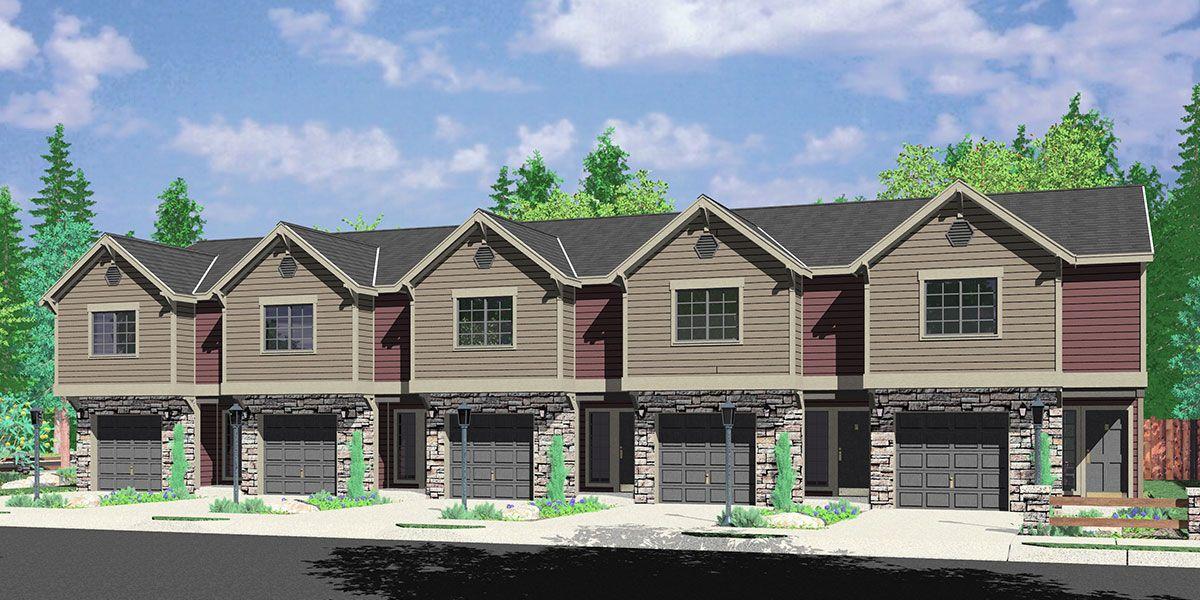 Fv 572 5 Plex Row House Plans Reversed Living Multi Family Vacation Plex Fv 572 Carriage House Plans Family House Plans Town House Floor Plan