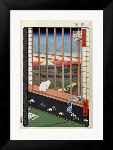 A Cat Sitting on the Window Seat, 19th Century Giclee-vedos tekijänä Ando Hiroshige AllPosters.fi-sivustossa