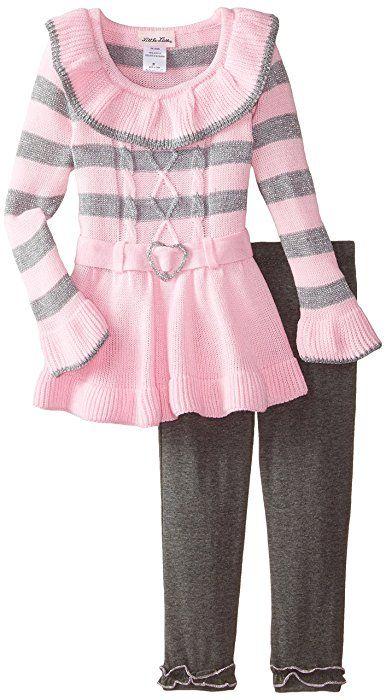 Little Lass Little Girls Toddler 2 Piece Sweater Set Belted Stripe
