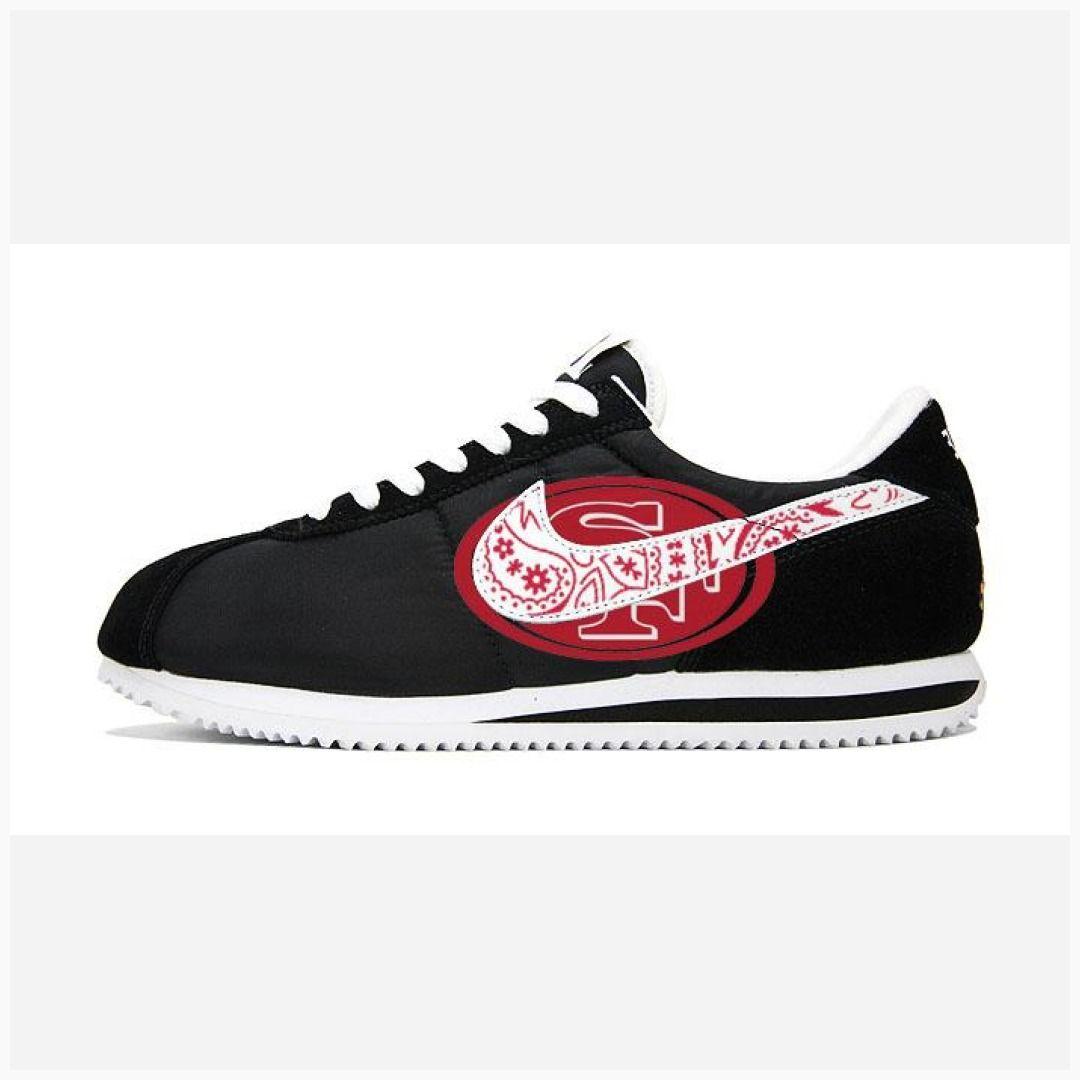 517e8756 Bandana Fever Bandana SF 49ers Big Print Custom Black/White Nike Cortez  Shoes #la #sneakers #bandanafever #stylesquad #bandana #losangeles #bandoez  ...
